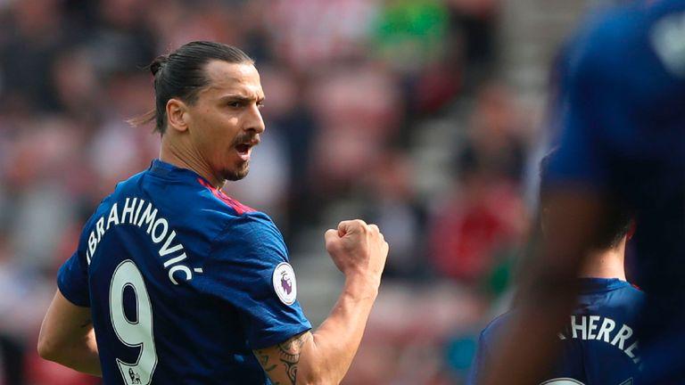 Zlatan Ibrahimovic scored his 28th goal of the season against Sunderland