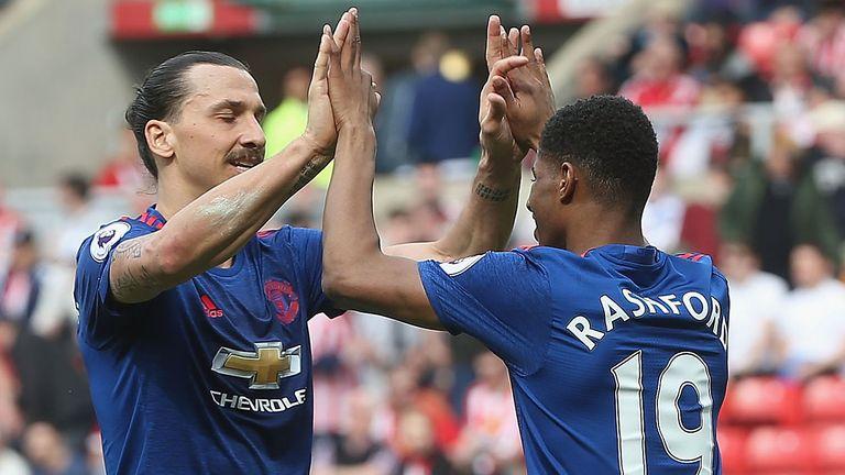 Zlatan Ibrahimovic and Marcus Rashford celebrate Rashford's goal, Sunderland v Manchester United, Premier League, Sunday 9 April 2017