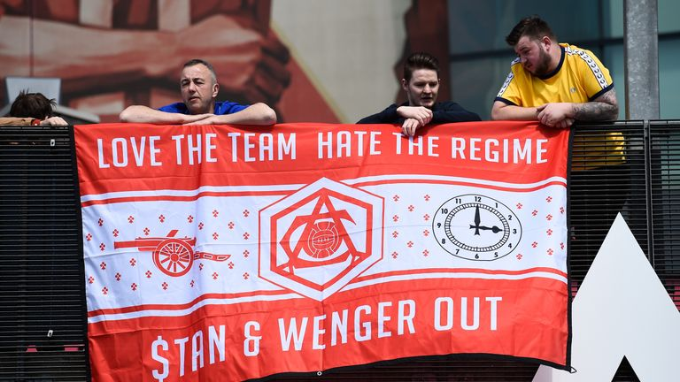 Some Arsenal fans have protested against Wenger remaining at the Emirates as the club's wait for another Premier League title has gone on