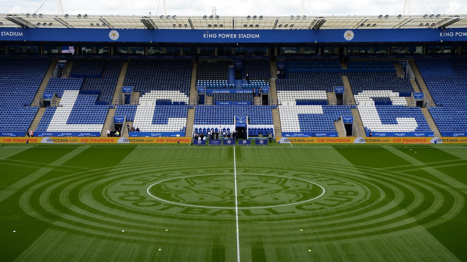Leicester Ground Staff Mow Foxes Emblem Onto Pitch For