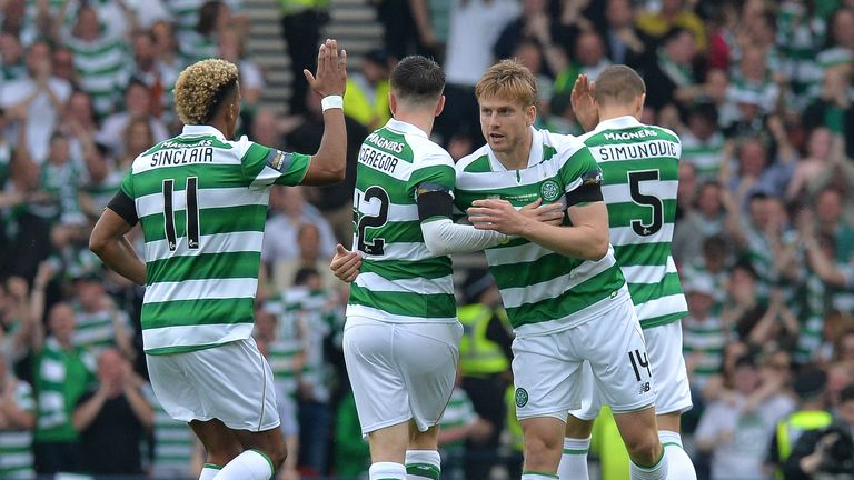 Stuart Armstrong (L3) of Celtic celebrates scoring a goal early in the first half during the William Hill Scottish Cup Final v Aberdeen at Hampden Park