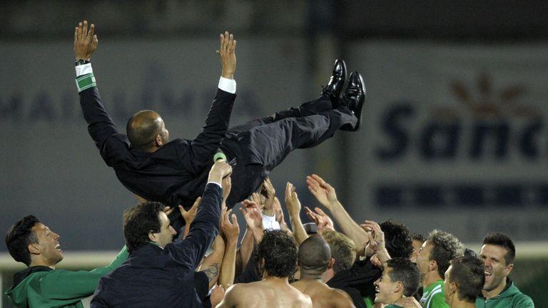 Rio Ave's coach Nuno Espirito Santo is tossed at the end of the Portuguese Cup semi-final win over Braga in April 2014