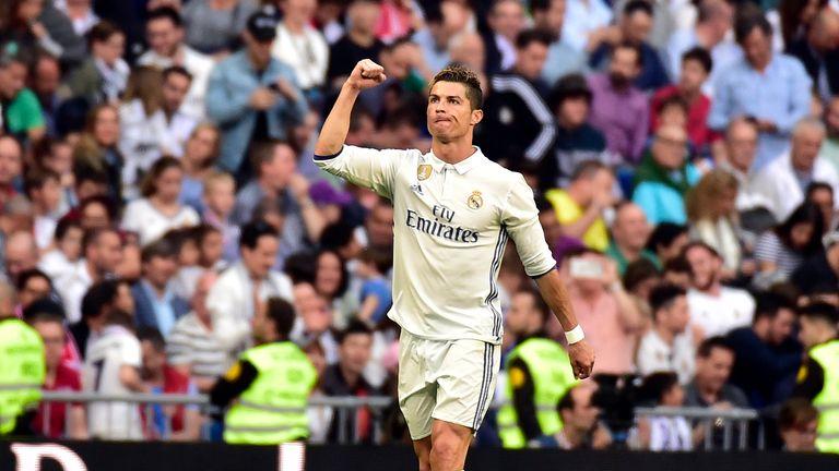 Real Madrid's Portuguese forward Cristiano Ronaldo celebrates scoring his 400th goal