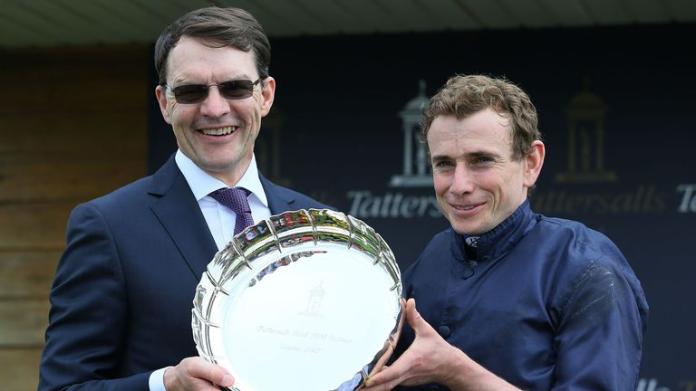 Jockey Ryan Moore and trainer Aidan O'Brien after winning the Tattersalls Irish 1,000 Guineas with Winter