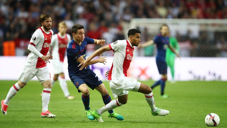 STOCKHOLM, SWEDEN - MAY 24: Ander Herrera of Manchester United and Jairo Riedewald of Ajax battle for possession during the UEFA Europa League Final betwee