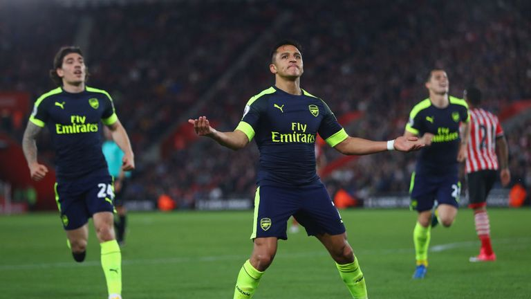 Alexis Sanchez celebrates opening the scoring for Arsenal