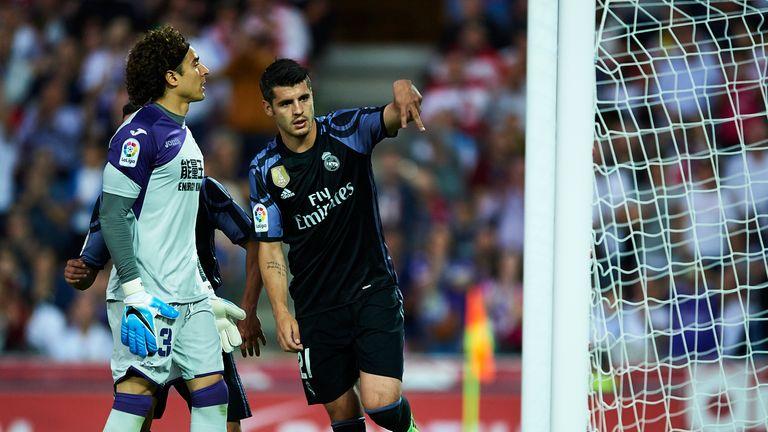 Alvaro Morata celebrates scoring for Real Madrid against Granada