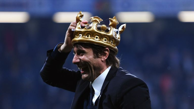 LONDON, ENGLAND - MAY 15:  Antonio Conte, Manager of Chelsea celebrates with a inflatable crown after the Premier League match between Chelsea and Watford