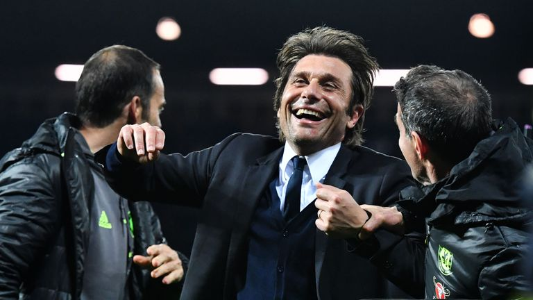 Chelsea's Italian head coach Antonio Conte celebrates victory after the English Premier League match between West Bromwich Albion and Chelsea at The Hawtho