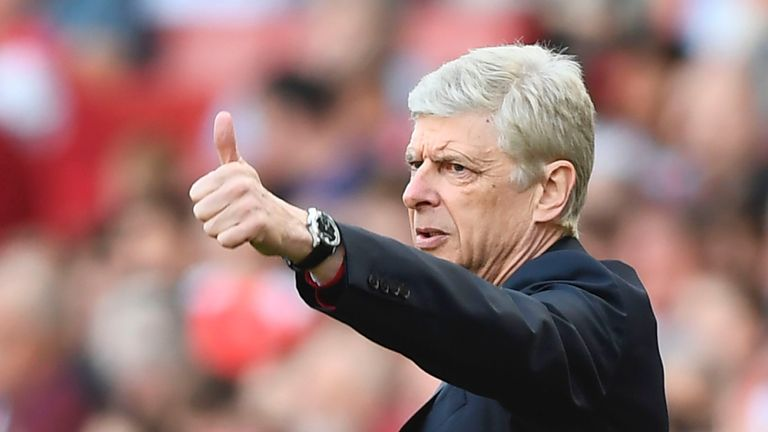 Arsenal's French manager Arsene Wenger gestures from the touchline during the English Premier League football match between Arsenal and Everton at the Emir