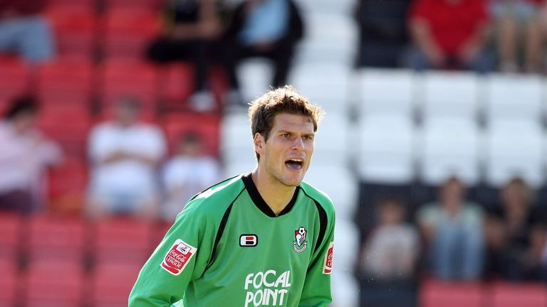 BOURNEMOUTH, UNITED KINGDOM - SEPTEMBER 15: Asmir Begovic of AFC Bournemouth in action during the Coca Cola League One Match between AFC Bournemouth and No