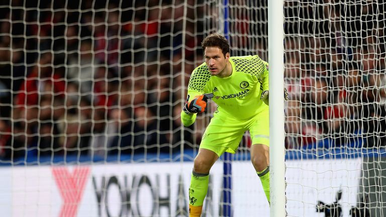 Asmir Begovic in action during the FA Cup fourth round between Chelsea and Brentford at Stamford Bridge