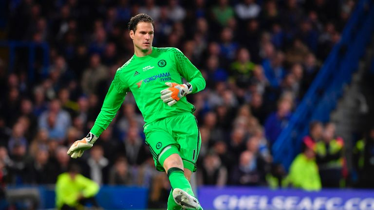 Asmir Begovic in action during the Premier League match between Chelsea and Watford at Stamford Bridge
