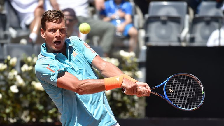 Tomas Berdych, world ranked 13, in action during his match against Mischa Zverev of Germany