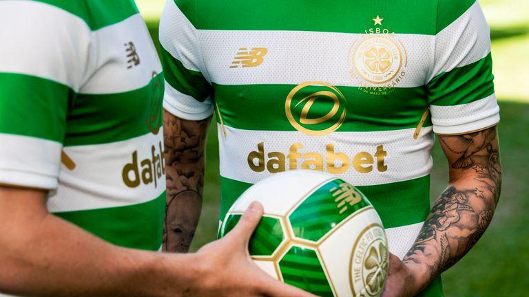 04/05/17.. CELTIC PARK - GLASGOW.. Celtic's launch their new Lisbon Lions inspired kit for the 2017/2018 season.