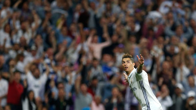 Real Madrid's Cristiano Ronaldo celebrates scoring his side's 2nd goal