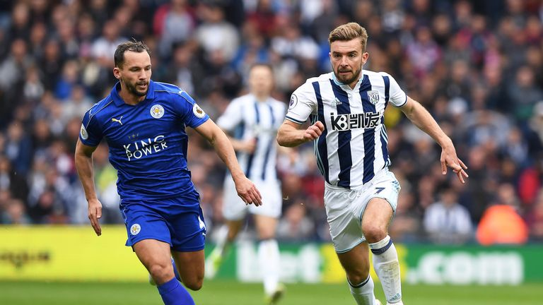 Danny Drinkwater in action for Leicester City against West Bromwich Albion at The Hawthorns