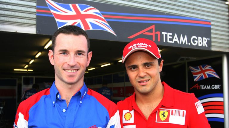 Watts with then Ferrari driver Felipe Massa at Kyalami in South Africa during A1GP qualifying in February 2009