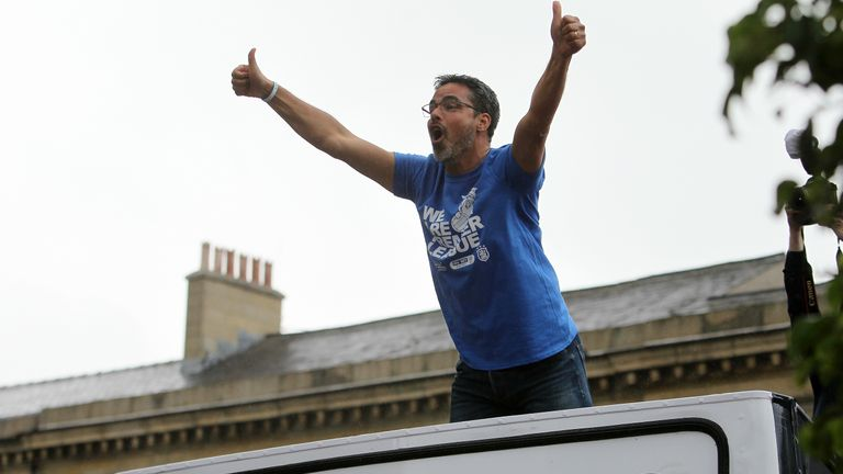 Huddersfield Town manager David Wagner enjoys Tuesday's promotion parade