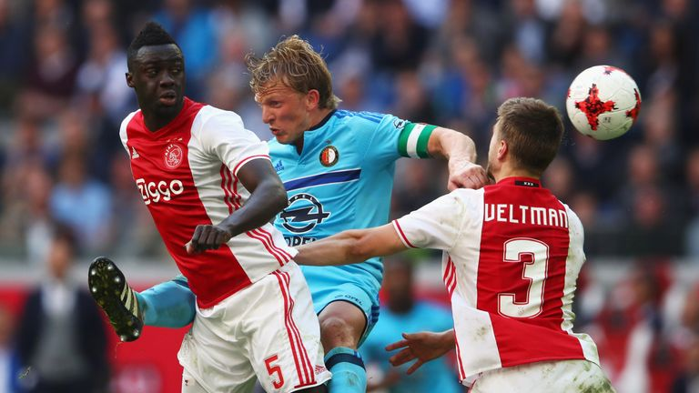 AMSTERDAM, NETHERLANDS - APRIL 02:  Davinson Sanchez and Joel Veltman of Ajax battles for the ball with Dirk Kuyt of Feyenoord Rotterdam during the Dutch E