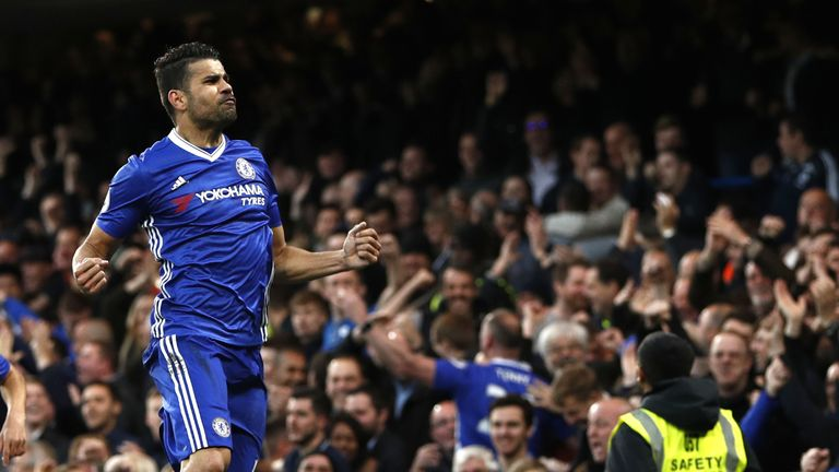 Chelsea's Brazilian-born Spanish striker Diego Costa celebrates after scoring during the English Premier League football match between Chelsea and Middlesb