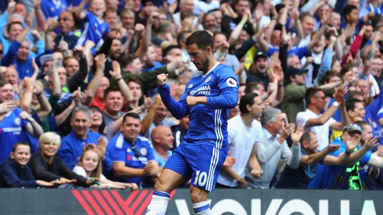 Eden Hazard celebrates Chelsea's third goal