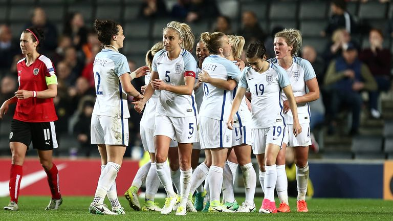 England Women celebrate their third goal during the International Friendly against Austria Women at Stadium MK