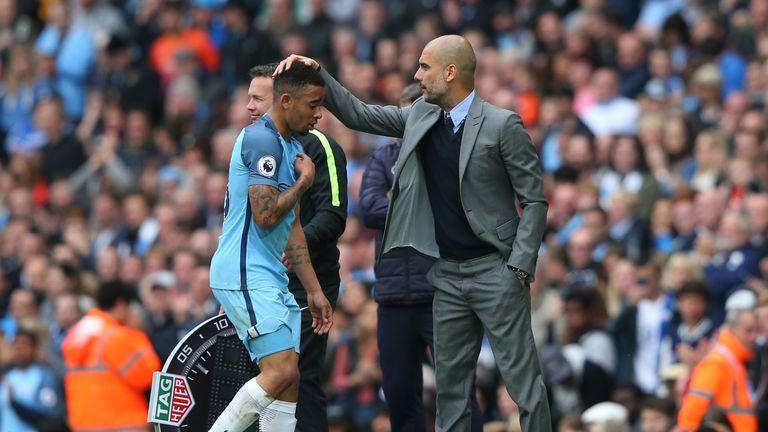 Gabriel Jesus and Pep Guardiola, Manchester City v Leicester, Premier League