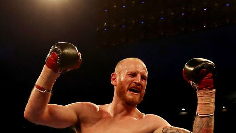 George Groves celebrates after beating Fedor Chudinov at Bramall Lane