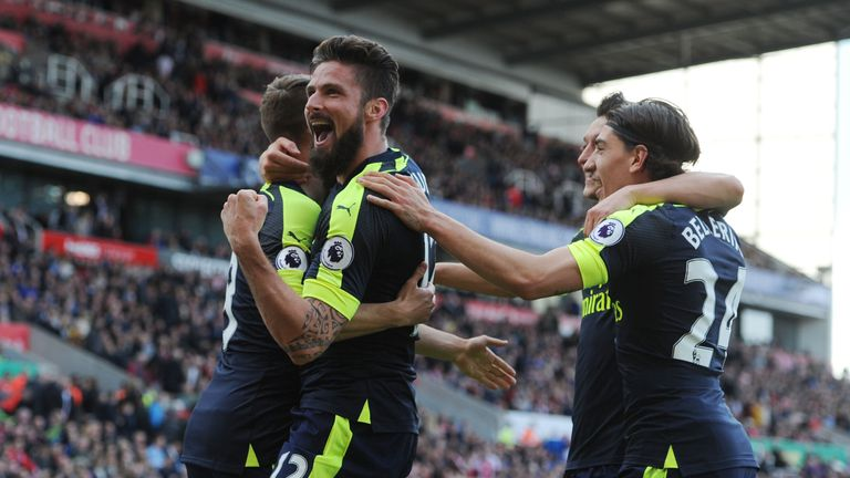 STOKE ON TRENT, ENGLAND - MAY 13: during the Premier League match between Stoke City and Arsenal at Bet365 Stadium on May 13, 2017 in Stoke