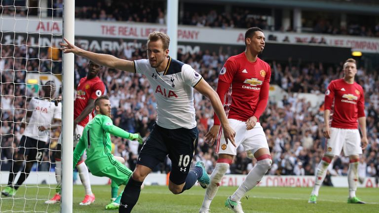 Tottenham Hotspur's Harry Kane celebrates scoring his side's second goal of the game during the Premier League match at White Hart Lane, London.