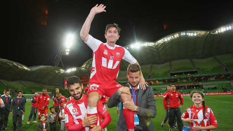 MELBOURNE, AUSTRALIA - APRIL 12:  Harry Kewell of the Heart is chaired off the field after playing his final match and retiring from football during the ro