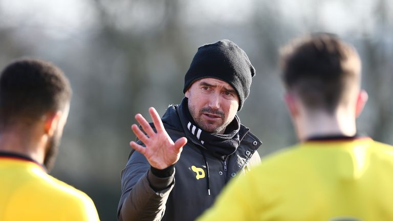 NORTHAMPTON, ENGLAND - JANUARY 24:  Watford U23 coach Harry Kewell gives instructions at half time during a friendly match between Northampton Town and Wat