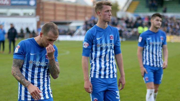 Hartlepool's Lewis Alessandra (left) pictured after they are relegated from Sky Bet League Two