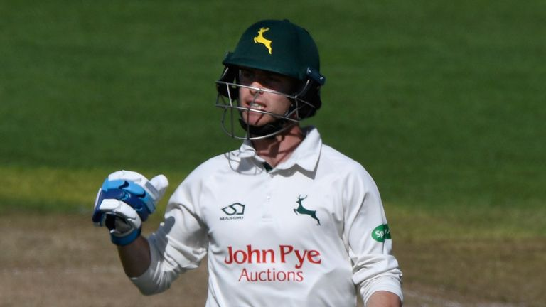 Notts batsman Jake Libby celebrates his century