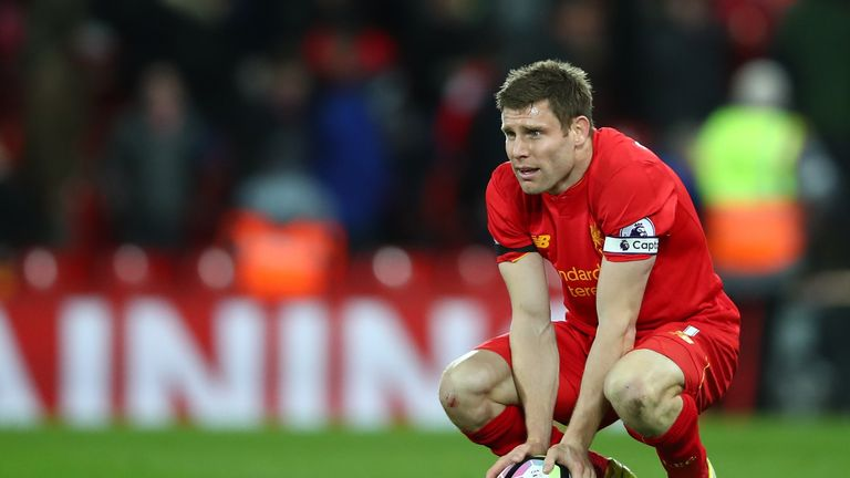 LIVERPOOL, ENGLAND - APRIL 05: James Milner of Liverpool looks dejected after the Premier League match between Liverpool and AFC Bournemouth at Anfield on