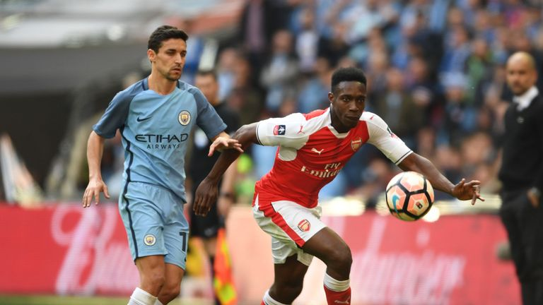LONDON, ENGLAND - APRIL 23: of Arsenal during the Emirates FA Cup Semi-Final match between Arsenal and Manchester City at Wem