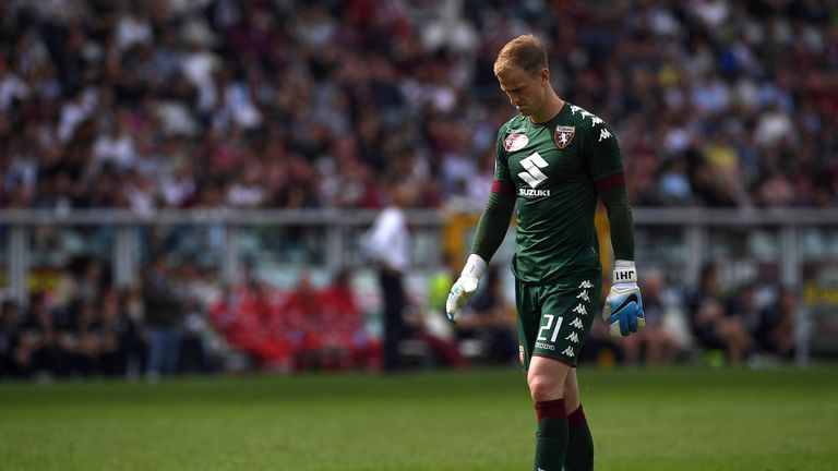 TURIN, ITALY - MAY 14:  Joe Hart of FC Torino looks dejected during the Serie A match between FC Torino and SSC Napoli at Stadio Olimpico di Torino on May