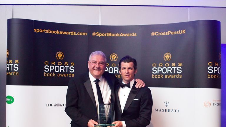 Joey Barton (R) and co-author Michael Calvin after receiving the Cross Sports Book Award for best autobiography for No Nonsense