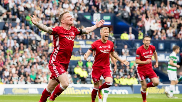 Aberdeen's Jonny Hayes celebrates scoring in the Scottish Cup final against Celtic