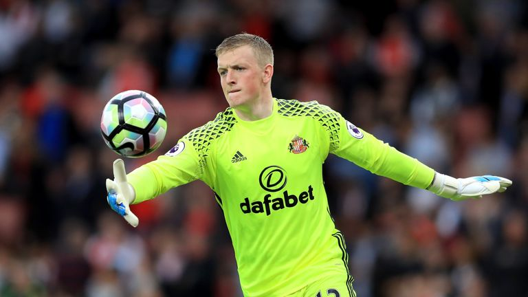 LONDON, ENGLAND - MAY 16: Jordan Pickford of Sunderland kick the ball during the Premier League match between Arsenal and Sunderland at Emirates Stadium on