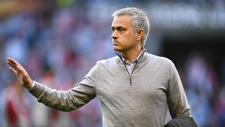 VIGO, SPAIN - MAY 04:  Jose Mourinho manager of Manchester United look looks on prior to the UEFA Europa League semi final, first leg match between Celta V