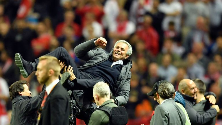 United manager Jose Mourinho celebrates at the end of the Europa League final