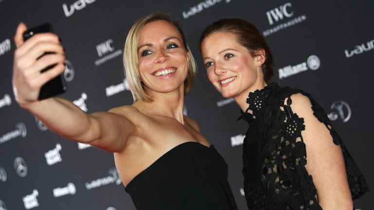Hockey players Kate Richardson-Walsh (L) and Helen Richardson-Walsh take a selfie at the 2017 Laureus World Sports Awards in Monaco