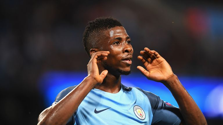 Kelechi Iheanacho in action during the UEFA Champions League Play-off Second Leg against Steaua Bucharest