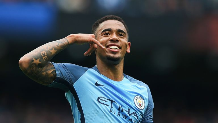 Gabriel Jesus celebrates after giving Manchester City a 2-0 lead from the penalty spot