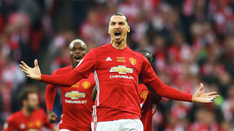 Zlatan Ibrahimovic celebrates as he opens the scoring during the EFL Cup Final at Wembley