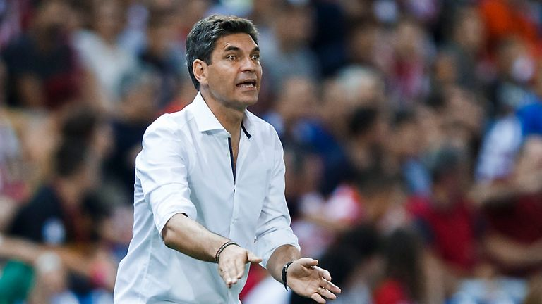 MADRID, SPAIN - AUGUST 21: Head coach  Mauricio Pellegrino of Deportivo Alaves gives instructions during the La Liga match between Club Atletico de Madrid