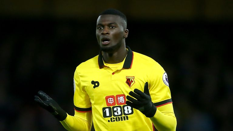 Mbaye Niang of Watford reacts after a missed chance during the Premier League match between Watford and West Ham United