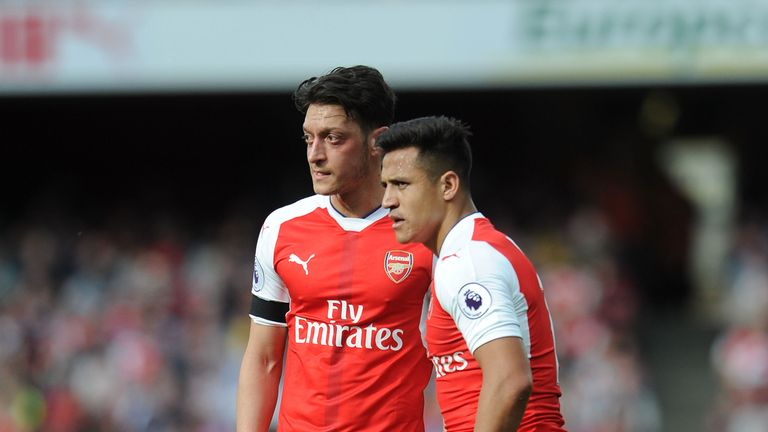 Alexis Sanchez and Mesut Ozil during Arsenal and Manchester City at Emirates Stadium on April 2, 2017